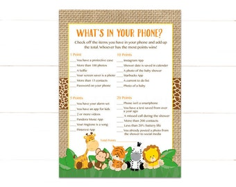 Safari What's in Your Phone Game, Whats in Your Phone Baby Shower Game, Jungle Instant Download   502 Printable