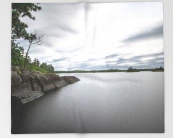 Fleece Blanket, Boundary Waters, Cloudy Sky, Full Size Bedding, Queen Blanket, Water Photography, Smooth Lake, Nature Photo, Minnesota Image