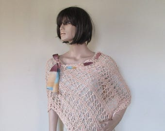 Handmade knitted  spring and summer poncho.