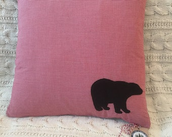Gingham Bear Pillow Cover