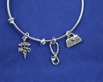 Doctor's Bracelet....MD Bracelet.....Expandable Silver Plated Bangle Bracelet