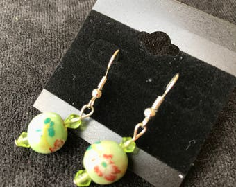 Green Spheres Decorated with Flowers Earrings