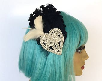 Black Feather Fascinator, Formal Fascinator, Great Gatsby, Ivory Fascinator, Pearl Hair Clip
