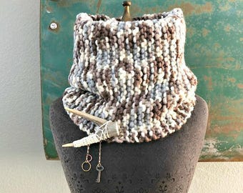 Palomino Cowl with Antler Brooch -  Fringe Luxury Line - One of a Kind