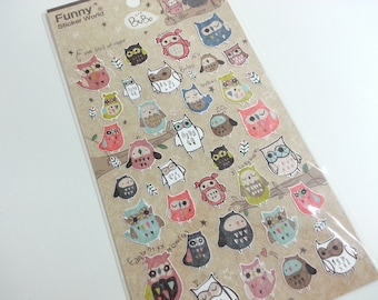 Funny Owl Stickers  - 1 sheet