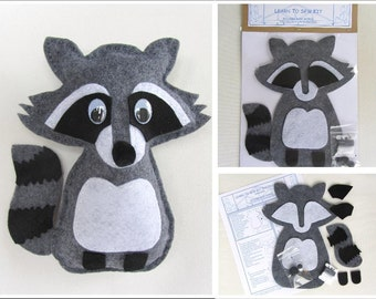 Learn to Sew Kit for Kids - Gray Raccoon