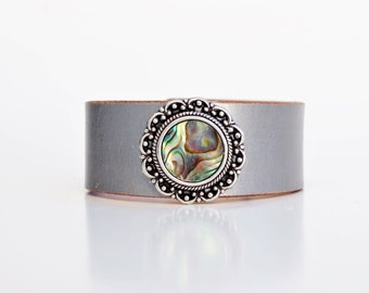 Leather Cuff in Hand-Dyed Silver + Round Abalone Accent - Boho Chic Festival Gypsy Mermaid Colors Made in the South