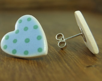 Ceramic polka dot heart and sterling silver stud earrings