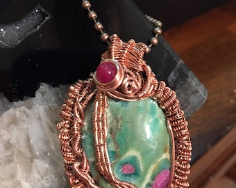 Wire Weaved Pendant, Crystal Necklace, Handmade Jewelry, Red Zoisite Pedant