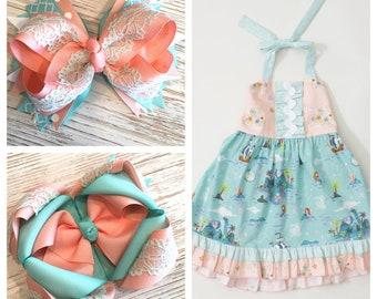Made to match RicRac & Ruffles Neverland hair bow, neverland hairbow, Ricrac hair bow,  peach hair bow, aqua hair bow, lace hair bow