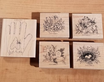Stampin' Up Retired Set - 1997 Gifted Glove - Rubber Stamp Set of 5 - RS-074