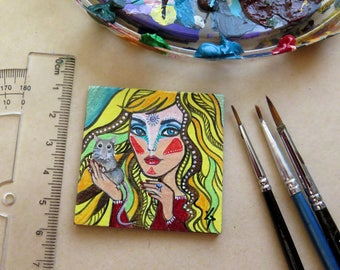 Original Dollhouse Miniature Painting, Small painting, Collectible Miniature, Acrylic Tiny Painting, Girl with Rat, Colorful Miniature
