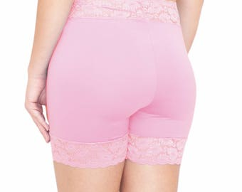 Cotton Biker Shorts Pink Lace Shorties Blush Tap Pants Stretch Cotton Pajamas Pink Plus Size Anti Chafing Shorts Under Skirt Shorties