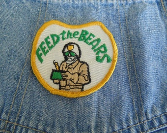 Vintage 1970s CB Radio Embroidered FEED the BEARS deadstock patch