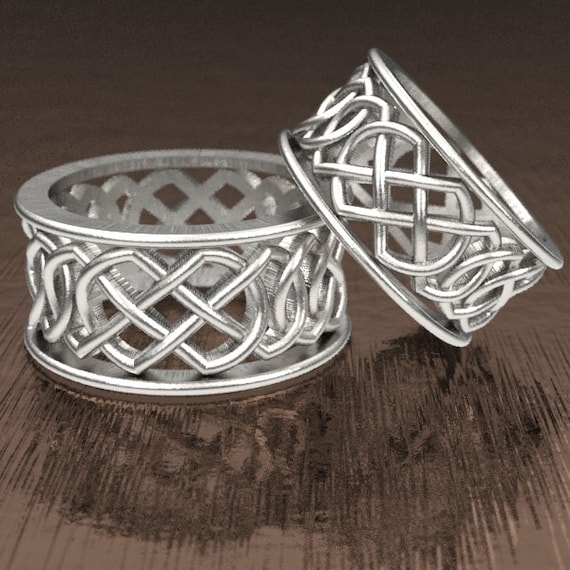 Celtic Wedding Ring Set With Murphy Infinity Knotwork Design in Sterling Silver, Made in Your Size CR-268