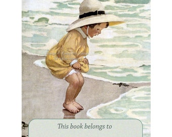 Toddler By The Sea Bookplates - Pack of Ten - Jessie Willcox Smith Repro