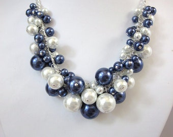 Pearl Cluster Necklace in Navy and White- Chunky, Choker, Bib, Necklace, Wedding, Bridal, Bridesmaid