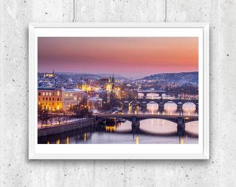 Vltava River, Charles Bridge and Old Town in winter, Prague. Unframed  Fine Art Photograph