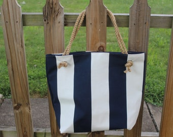 Navy blue and white striped nautical tote/beach bag