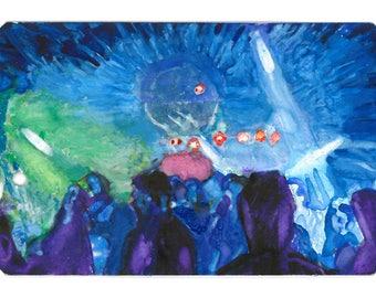 "POCKET ART. ""Purple People"" – 5.4 x 8.6 cm.  Miniature painting on repurposed paper subway ticket."