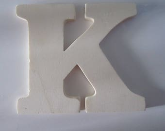 """Made of wood to decorate, customize - representing the letter """"K"""" - 13.5 cm x 12 cm"""