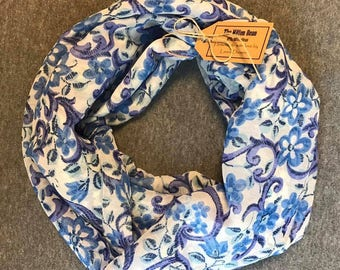 White and Blue Flowered Chiffon Infinity Scarf