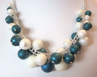 Bumpy Pearl Cluster Necklace in Teal Blue and White- Chunky, Choker, Bib, Necklace, Wedding, Bridal, Bridesmaid, SRAJD, Ready to Ship