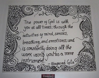 Henna painting, Canvas painting, Original painting, Wall art, Abstract painting - Bhagavad Gita Quote - Original Canvas Painting 50x40