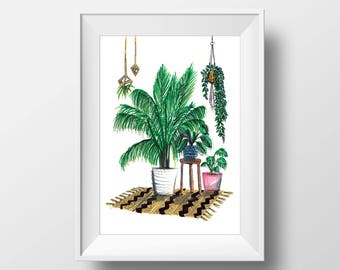 House plant love // print // artwork // illustration // plant illustration // hand-drawn // style // wall art // homeware // lifestyle