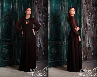 Evening dress, dress for bridesmaids, brown dress