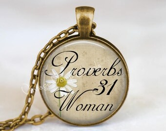 BIBLE SCRIPTURE Quote Necklace Pendant,  Proverbs 31 Woman, Christian Religious Jewelry Bible Jewelry Christianity