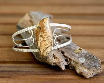 Jasper Silver Cuff Bracelet