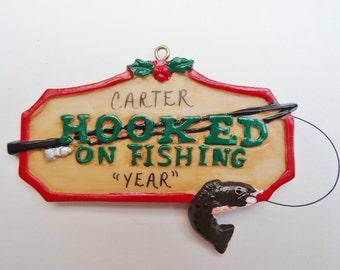 Hooked on Fishing Personalized Christmas Ornament - Personalized Ornament for Fisherman