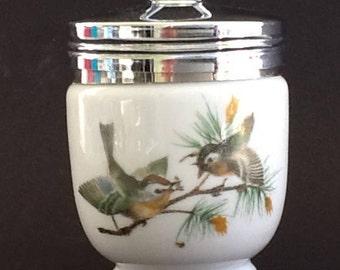 Royal Worcester Porcelain Egg Coddler~Wild Birds Design~Chrome Fitted Lid~Breakfast for One~Vtg. Egg Coddler~Made in England~Vtg. Cookware~