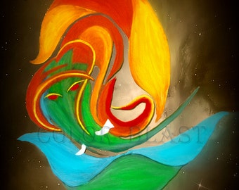 ABSTRACT GANESH- Remover of Obstacles. Abstract Art Print- Free Shipping inside US.