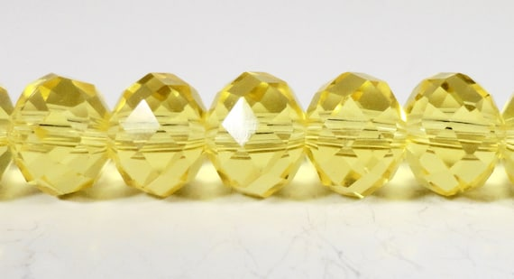 "Rondelle Crystal Beads 8x6mm (6x8mm) Lemon Yellow Faceted Chinese Crystal Glass Beads for Jewelry Making on an 8 1/2"" Strand with 35 Beads"