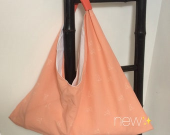 "Bag ""tote"" origami birds salmon origami"