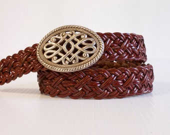 Vintage women's  Belt brown Braided Belt with silver toned decorative buckle size Medium