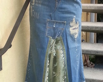 Denim and Brocade Maxi Skirt