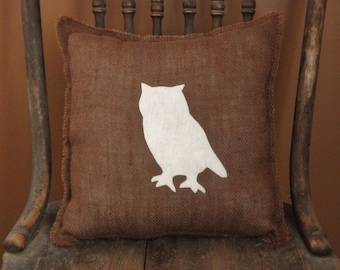 """12"""" x 12"""" Burlap Fringe Pillow with Owl Applique-Wildlife Collection-Choose Your Colors-Rustic/Country/Folk/Natural-Cabin & Lodge Decor"""
