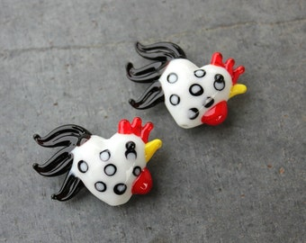 Polka dot large rooster beads - 2 white chickens with black spots - lampwork glass - loose beads for jewelry and crafts