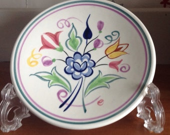 Vintage Hand Painted Poole Pottery plate, Vintage Poole Pottery , Hand Painted Floral Poole Pottery