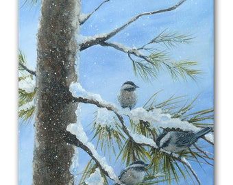 Chickadees in a Snowy Tree