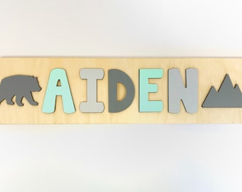 Name Puzzle, Wooden Name Puzzle, First Birthday Gift, Second Birthday Gift, gift for boy, mountain puzzle, bear puzzle, woodland nursery