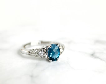 London Blue Topaz Ring, Victorian Topaz Engagement Ring, White Gold Blue Topaz Ring, Sterling Silver London Blue Topaz Ring, 925 Silver Ring