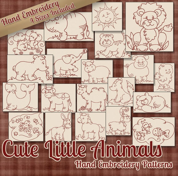 Sale Hand Embroidery Patterns Cute Little Animals In 4 Sizes Pdf