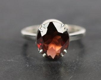 Red Garnet ring,4.5 ct garnet ring in 925 sterling silver