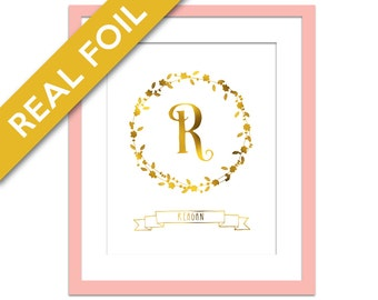 Custom Name Real Gold Foil Art Print - Gold Foil Monogram - Personalized Wall Art - Nursery Art - Personalized Name Art Print - Custom Print