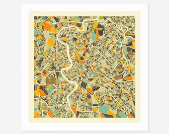 ROME MAP (Giclée Fine Art Print/Photo Print/Poster Print) by Jazzberry Blue (ivory version)