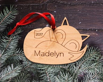 Wooden Baby Fox Ornament: Personalized Name, Boy or Girl, Baby's First Christmas 2018, Kids Woodland Animal Cute Sleeping Fox Ornament